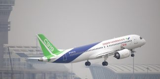 The C919, which will compete with Boeing Co's 737 and the Airbus SE A320.
