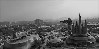 Giant robots and futuristic cyberpunk castles rise out of lush mountain slopes on the outskirts of Guiyang.