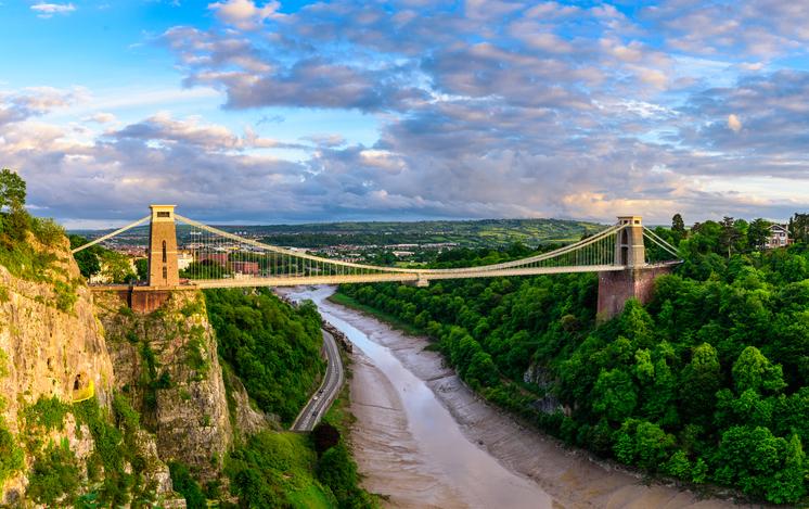 Bristol suspension bridge at sunset