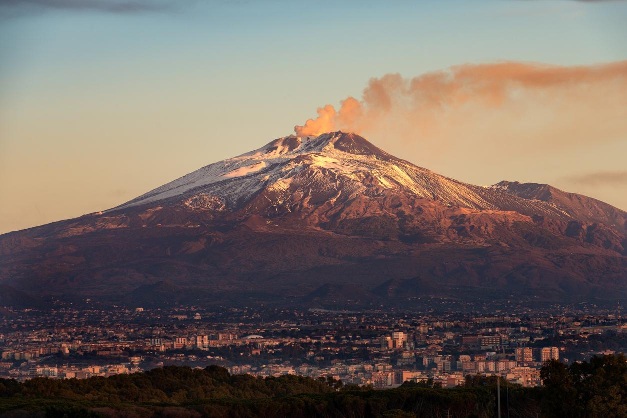 Mount Etna Volcano and Catania city – Sicily island Italy