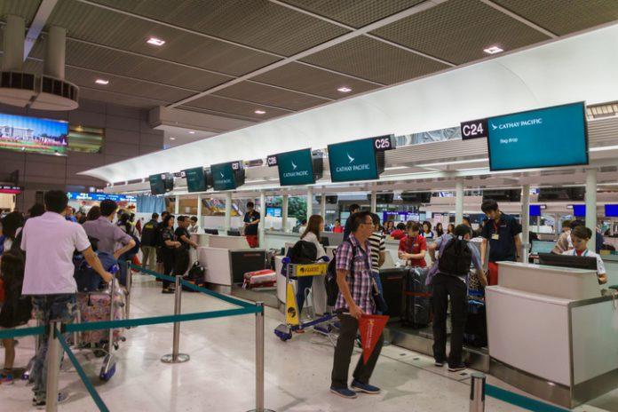 Cathay Pacific check-in counter at Narita International Airport, Tokyo, Japan