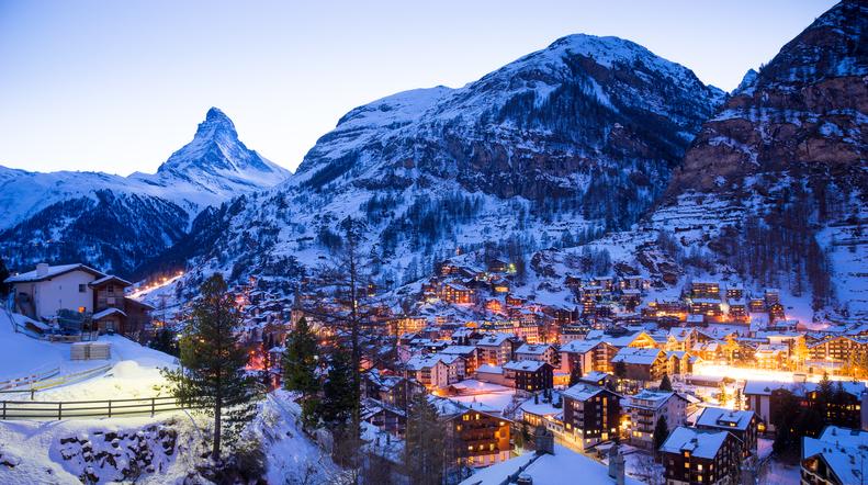 Matterhorn mountain, Zermatt in Switzerland.. Ski resort.