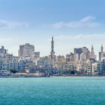 View of Alexandria harbor, buildings.