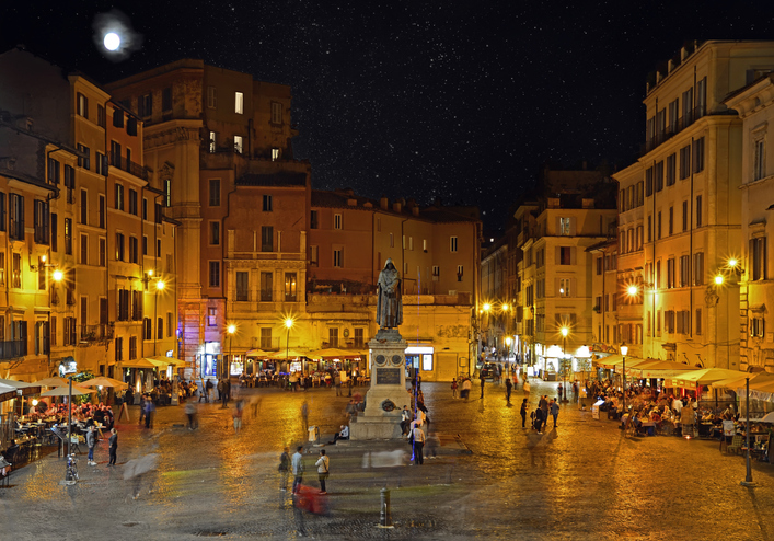 Campo dei Fiori at night with the monument to philosopher Giordano Brvno