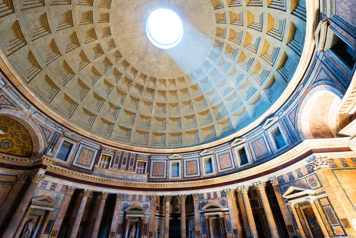 Interior of Rome Pantheon with the famous light ray