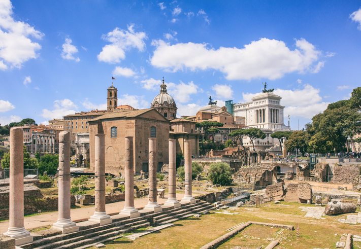 Roman Forum in Rome, Italy on blue sky background