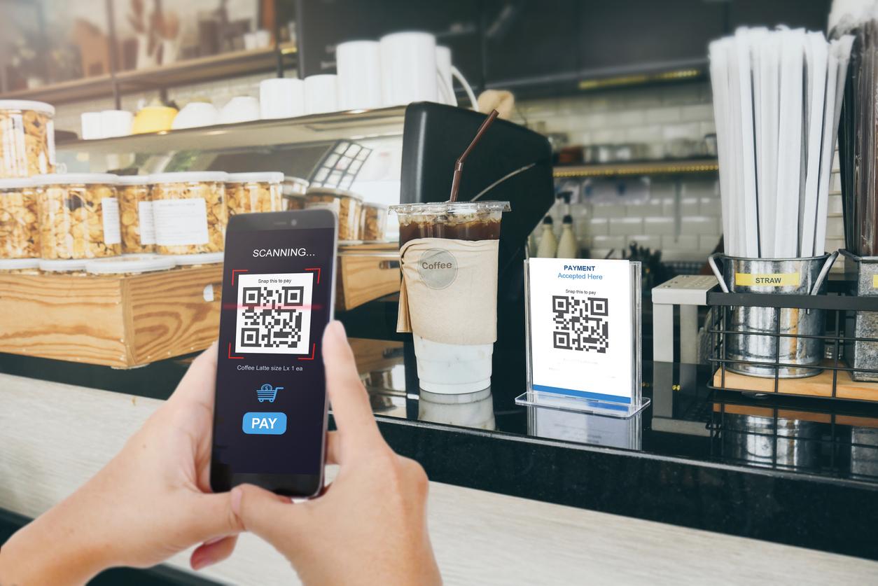 Qr code payment, E wallet , cashless technology concept  Man